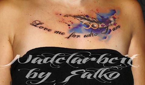 Feder Aquarell Tattoo Studio Nadelarbeit
