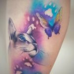 aquarell_farbig_katzenkopf mit schmetterling #nadelarbeit